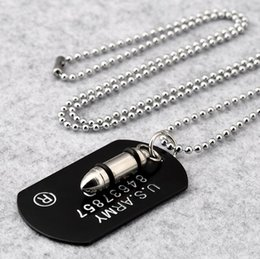 Dog Plates Australia - Hip Hop Warhead Bullet Necklace Punk Metal Rock Dog Tag Pendant Necklaces Gothic Collar For Men Women Friendship Military Enthusiast Jewelry