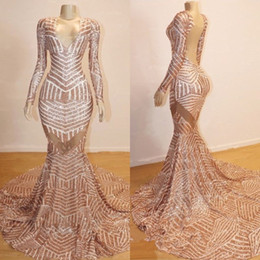 Two piece fishTail prom dress online shopping - Sparkly Rose Gold Mermaid Long Sleeve Prom Dresses Modest V neck Luxury Sequins Fishtail African Sexy Occasion Evening Formal Gowns