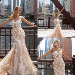 White colored Wedding dresses online shopping - Vintage Boho Beach Mermaid Wedding Dresses Champagne Colored Illusion Bodice Lace Sheer Neck Long Train Appliques Bridal Gowns for Bride