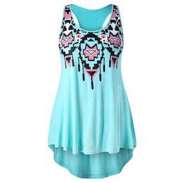 $enCountryForm.capitalKeyWord UK - Rosegal Big 5xl Racerback Tribal Print Tank Top Summer Casual Sleeveless O Neck Women Tops Tees Plus Size Women's Clothing J190622