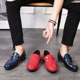 British Hair Styles Australia - Men Rivet Patent Leather British style Party Loafers Shoes Top Quality Fashion Forward Night club shoes Hair Stylist shoes Big size 38-46
