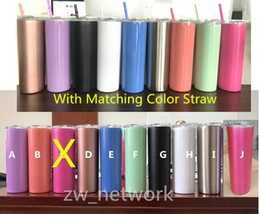 20oz stainless steel skinny tumbler with lid straw 20oz skinny cup wine tumblers mugs double wall vacuum insulated cup water bottle on Sale