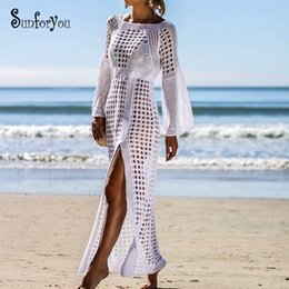 $enCountryForm.capitalKeyWord Australia - New Knitted Beach Cover up Maxi dress Tunic Long Pareos 2019 Crochet White Bikini Cover up Swim Robe Plage Beachwear