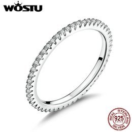real black roses UK - WOSTU Real 100% 925 Sterling Silver Fashionable Ring Circle Clear CZ Geometric Stackable Rings for Women Wedding Jewelry Gift