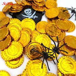 $enCountryForm.capitalKeyWord NZ - 3.5 CM 50Pcs & 100Pcs Trendy Coin Gift Plastic Gold Coin Child Toy Pirate Gold Party Decoration 5Z