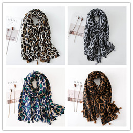 leopard scarf cotton NZ - Large Size Women Leopard Print Scarf Tassel Scarves 180*100CM Spring Autumn Shawls Wraps Cotton And Linen Cover-Up Muslim Hijab