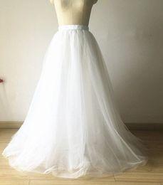 f3b6847b4c0 Дешевые белый тюль юбка линия слоистых тюль Туту юбки длина пола на заказ  размер плюс размер выпускного вечера партии взрослых одежда осень TS004