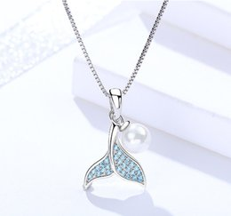 wholesale sterling silver jewelry dolphin NZ - silver 925 pendants jewelry woman necklaces dangles animal fish dolphin tail blue crystal pearl beauty fashion cute 2019 sister gifts 6 pcs