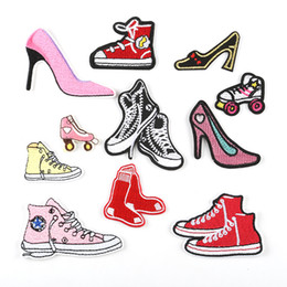 Shoes Repair Australia - Shoes Collection High Heeled Shoes Embroidery Patches Sew Iron On Applique Repair DIY Badge Patch For Kids Clothes Jacket Bag Garment
