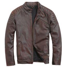 Vintage Motorcycles Jacket Australia - 2019 Retro Vintage Brown Men Genuine Leather Motorcycle Jacket Plus Size XXXL Slim Fit Short Leather Biker Coat FREE SHIPPING