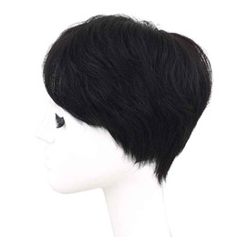 Black White Wigs Australia - A short, straight black wig for balding or white hair in the middle. Hair is natural and cheap, thin and airy