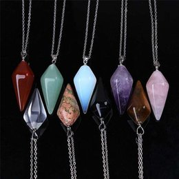 Necklaces Pendants Australia - Hexagonal column amulet pendant necklace jewelry natural stone crystal ornaments colorful crystal necklace female pendant