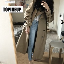 Wholesale trench cloak resale online - Double Breasted long Trench Coat Women Khaki Slim Belt Cloak Mujer Windbreaker Female Plus