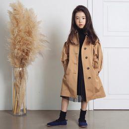 $enCountryForm.capitalKeyWord NZ - Quality Khaki Big Girls Windbreaker Long Fashion Cotton Fabric Kids Trench Outwear Children's Clothing for 120-170cm