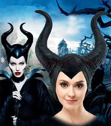 Red latex women costumes online shopping - Maleficent Horns Adult Women Halloween Party Costume Jolie Cosplay Headpiece Hat Helmet Trendy Genuine Latex Black Red
