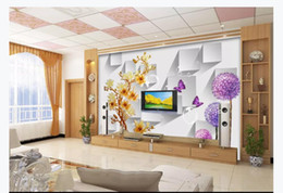 $enCountryForm.capitalKeyWord Australia - 3D customized large photo mural wallpaper Colorful carved magnolia purple dandelion butterfly love flower 3D living room TV background wall