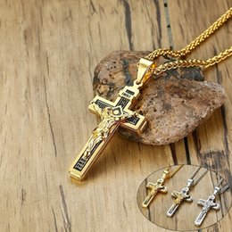 $enCountryForm.capitalKeyWord Australia - Vnox INRI Cross Pendant Necklaces for Men Stainless Steel Jesus Prayer Male Christian Collar Lucky Accessory