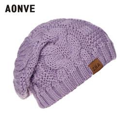 Discount beanies hombres - Aonve 2018 Unisex Knitted Plain Skullcap Winter Beanies For Men And Women Casual Kawaii Bonnet Femme Gorros Hombre Bonne