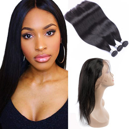 human hair bundle set Canada - Raw Indian Virgin Hair Extensions Straight Human Hair 3 Bundles With 360 Lace Frontal 4 Pieces One Set Hair Products Bundles With Frontal