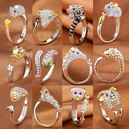 platinum wedding band ring 2020 - 12 Styles The Birth Of The Zodiac Ring Female Index Finger Opening Platinum-Plated Animal Chicken Ring cheap platinum we