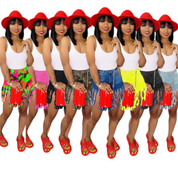 $enCountryForm.capitalKeyWord UK - Women tassel denim shorts designer summer clothes sexy pocket mini jeans fashion streetwear bodycon short pants plus size hot selling 1224