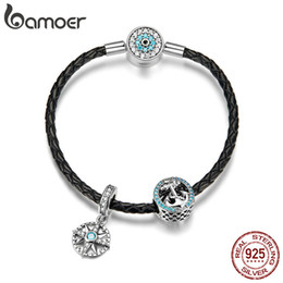anchor bracelet sterling silver NZ - High Quality 925 Sterling Silver Blue Eye Clasp Anchor & Rope Strand Charms Leather Bracelets for Women Valentine's Day Silver Jewelry Gift