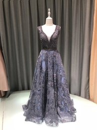 Vintage Real Pearls Australia - Dubai Design Luxury Blue V-Neck Prom Dresses 2019 Crystal Sleeveless Vintage Graduation Evening Gowns Long Real Photo robe de soiree