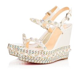 studs sandals Australia - Summer Gladiator Sandals Studs + Pearl Cataconico Calf Leather Lady Red Bottom Wedge Ankle Strap Sexy Women's High Heels Party Wedding Dress