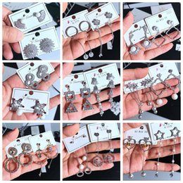 Korean earrings mix online shopping - New earrings Silver pin Hot Korean Dangle Shiny Rhinestone Drop color temperament zircon long exquisite earrings micro stud earrings Mix