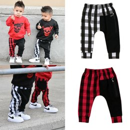 wholesale boys sweatpants UK - 1-6Y Kids Boys Sport Harem Pants Casual Loose Long Trousers Sweatpants Jogging Jogger Fashion Cute Plaid Child Harem Pants