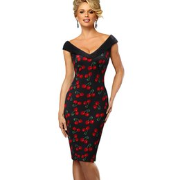 $enCountryForm.capitalKeyWord UK - Vestidos Business Party Bodycon Sheath Women Dress Vintage Contrast Color Elegant Flower Printed Sexy Off Shoulder