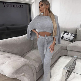Discount sexy winter white suit - Vefinear Sexy Autumn Winter Knitted Sweat Suits Women Two Piece Set Top And Pants Casual White Clothes Sexy Two Piece Ou