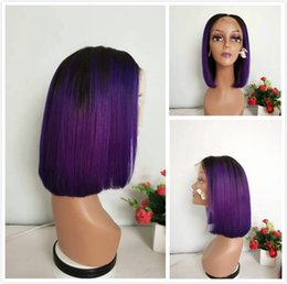 ombre hair purple straight 2019 - Colored 1B Purple Short Pixie Bob Wig Glueless Full Lace Human Hair Peruvian Straight Wig 150% Density Ombre Lace Front