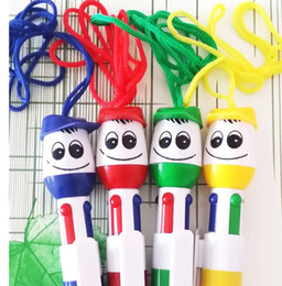 Discount cartoons smiley faces - 2019 Hot selling 4 colors Cartoon smiley face doll Ballpoint Ball pen 0.5mm School Supplies Bullet Ball pen School Offic