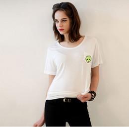 T Shirt Alien Australia - Cool Hipster White Black Alien Tees T shirts for Women Female Summer O Neck 2XL 3XL 4XL Plus Size T-shirts Cotton Tops