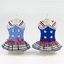 Wholesale Spring Summer Clothes Australia - Dog Badge Military Dress Lace Bow Princess Skirt Spring And Summer Pet Clothes Lovely Blue The New 17yp C1