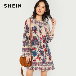 China SHEIN Multicolor Lace Eyelet Flower Print Dress Beach Vacation Botanical Short Dresses Women Autumn Streetwear Tunic Mini Dress Y19012102 supplier flower eyelets suppliers