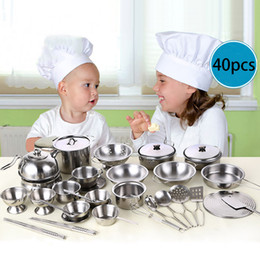 $enCountryForm.capitalKeyWord Australia - 40Pcs Children Pretend Role Play Set Stainless Steel Kids Play House Kitchen Toys Cookware Cooking Utensils Pots Pans Toy T6#