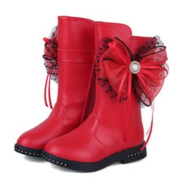 Boys long Boots online shopping - Christmas Teens Girls Winter Plus Velvet Red Boots For Flower Children Girls School Bow knot Long Snow Boots Years New