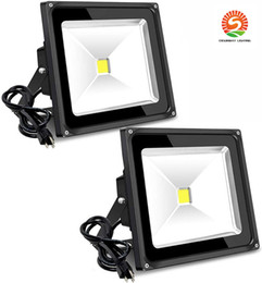 daylight flood lights NZ - 50W Outdoor Flood Light 6000lm Super Bright Security Light with Plug 5000K Daylight White IP65 LED Floodlight for Yard Garden Playground