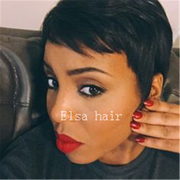 celebrity hairs NZ - Brazilian human hair cheap celebrity wig Machine made short pixie hair none lace brazilian straight human hair wig