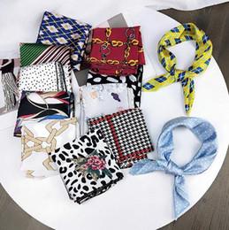 $enCountryForm.capitalKeyWord Australia - Elegant Floral Silk Square Scarf Hair Tie Band Small Women Neckerchief Head Neck Feel Satin Ladies Headband