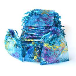Tea Jewelry Australia - 100pcs lot 9x12cm Blue Organza Bags Coralline Custom Jewelry Tea Packaging Bags Organza Wedding Gift Bags Saquinho De Organza