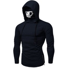 $enCountryForm.capitalKeyWord UK - Plus Size Clothes Hoodies Sweatshirt Men's Moletom Mask Skull Pure Color Pullover Tops Loose Hooded Sweatshirt Tops  PT