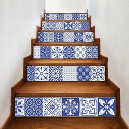 $enCountryForm.capitalKeyWord Australia - Blue White Flower Pattern DIY Decor Style Staircase Sticker Kitchen Wall Stickers Waterproof Self Adhesive Decal Stair Mural Wallpaper