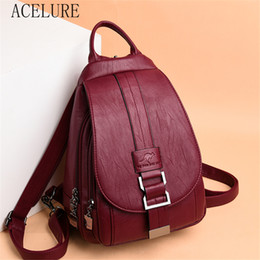 cell phone back cover girl Australia - ACELURE Women PU Leather Backpacks Female Vintage Backpack for Teenage Girls School Chest Bag Travel Bagpack Sac A Dos Back Pack CX200805