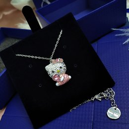 necklaces pendants Australia - Hot Selling Crystal Element HELLO KITTY Cute Pink KT Cat Pendant Shijia Fashion Pink Heart Necklace