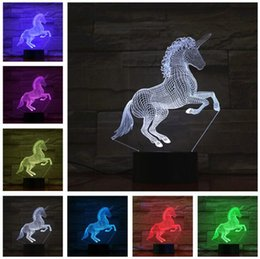 baby cartoon night lamp NZ - Unicorn 3D LED Night Light Party Cartoon Lamp 7 Color Change Baby Child Kids Bedroom Beside Table Decor Sleeping Xmas Holiday Festival Gifts