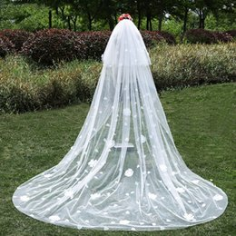 long romantic veils NZ - new Romantic Cathedral Long Wedding Veil with Comb Two Layer Hand Made Flowers Tulle White Bridal Veils Wedding Accessories