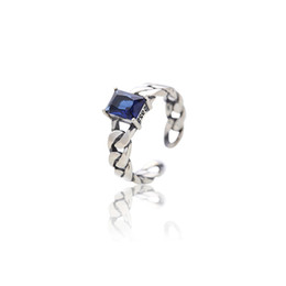 Cluster Rings For Womens UK - 100% Authentic 925 Sterling Silver Crystal Open Rings For Women Real Silver Geometric Rectangle Blue Crystal Womens Rings